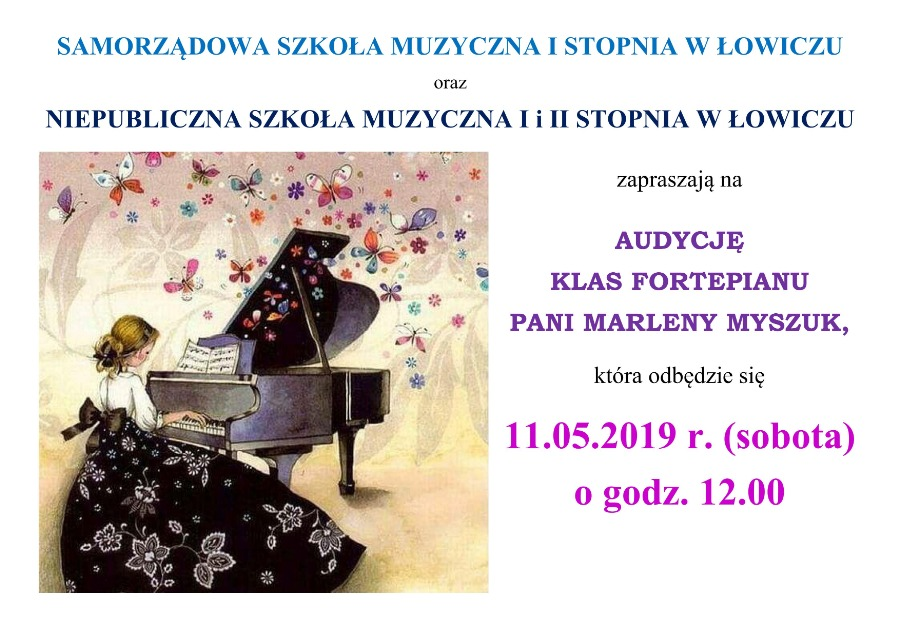 audycja klas fortepianu 11.05.2019